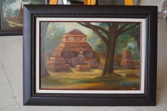 """ภาพชิ้นงาน: ภาพจิตรกรรม """"โบราณสถานในประเทศไทย"""" ( วัดมหาธาตุ สุโขทัย )"""