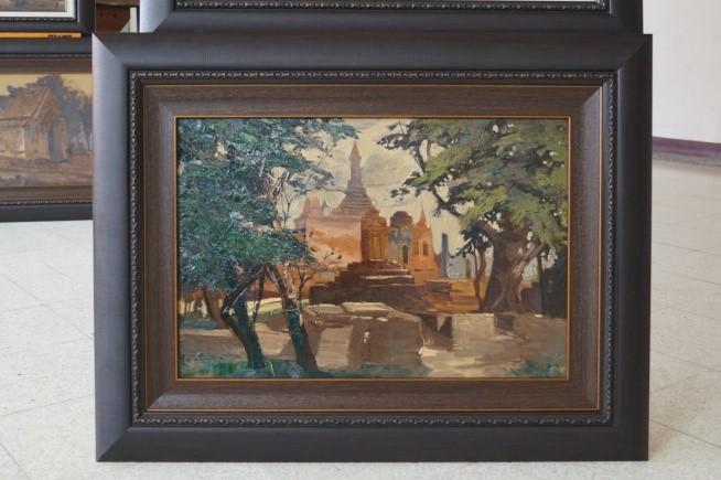 """ภาพชิ้นงาน: ภาพจิตรกรรม """"โบราณสถานในประเทศไทย"""" (วัดมหาธาตุ  สุโขทัย)"""